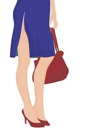 Woman with handbag  - detail Vector