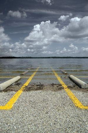Flooded Parking Lot - No Parking Imagens