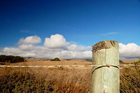 A roadside fence post along the Pacific Coastal Highway in California photo