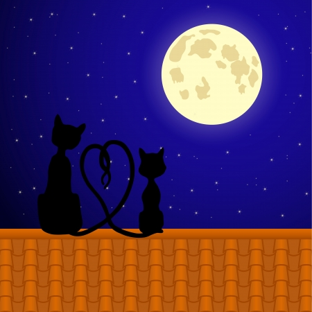 Cats sitting on the roof and stare at  moon.