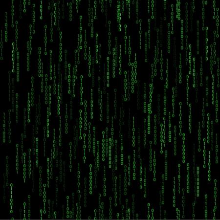 donker groene naadloze patroon met binaire code. Vector illustratie eps 10 met dalende aantal Stock Illustratie