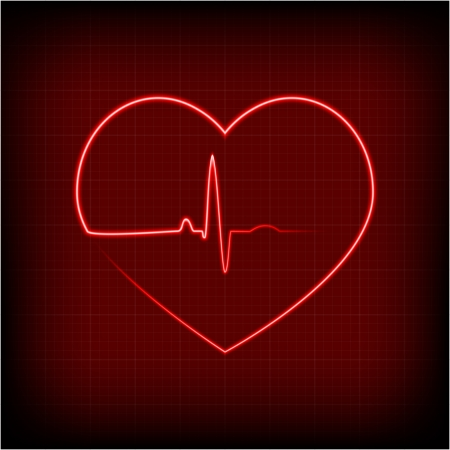 ekg: heart on a cardiogram Illustration