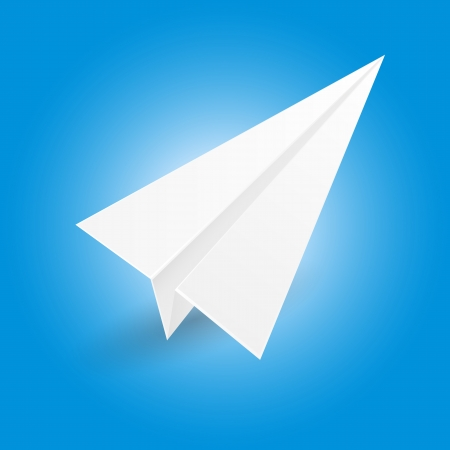 illustration of origami paper airplane on blue background