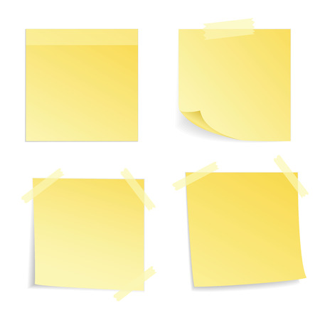 Yellow stick note isolated on white background, vector illustration  イラスト・ベクター素材