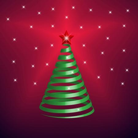 Vector Illustration. Christmas Tree made from green ribbon  イラスト・ベクター素材