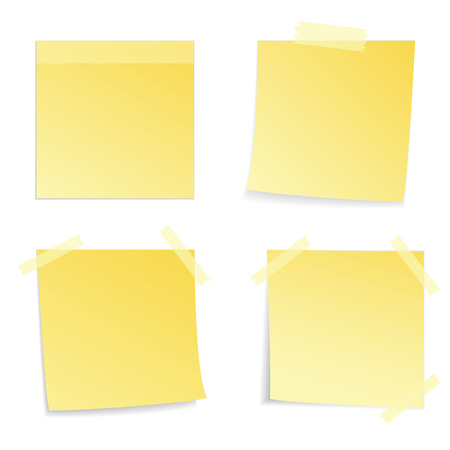 Yellow stick note on white , vector illustration