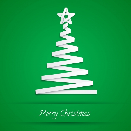Vector Illustration. christmas tree made from white paper stripe Vector