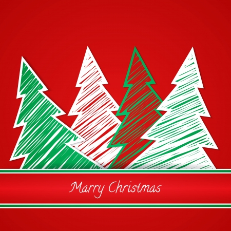 Vector Illustration. Christmas tree, new year card Illustration