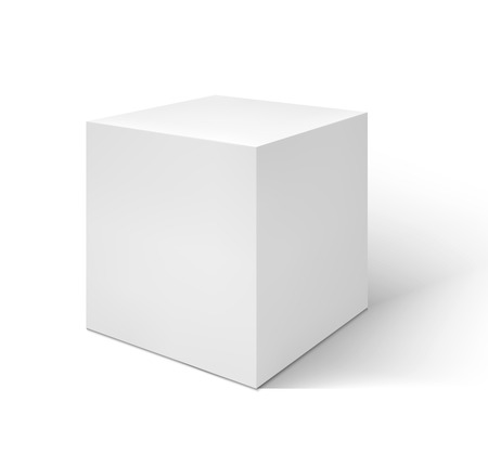 Vector White cube isolated on white background