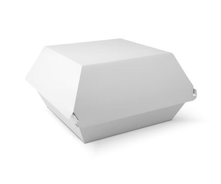 Caja de comida blanca, embalaje para hamburguesa, almuerzo, comida rápida, hamburguesas, sándwich. Paquete del producto. isolater vector en el fondo blanco Ilustración de vector