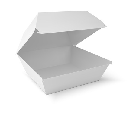 white boxes: White food box, packaging for hamburger, lunch, fast food, burger, sandwich. Product pack. vector isolater on white background