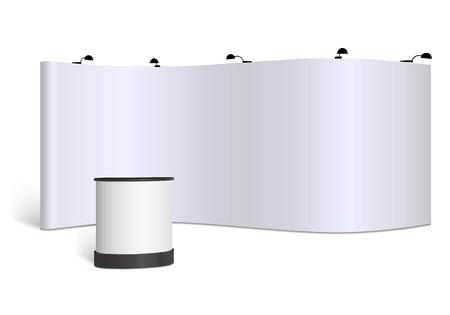 comercio: Stand de feria en blanco maqueta. Vista frontal. Vector aislado en el fondo blanco