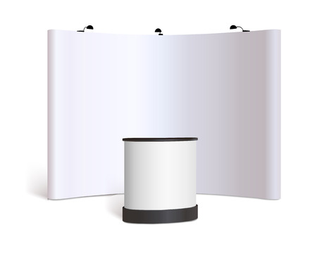 trade show: Blank trade show booth mock up. Front view. Vector isolated on white background