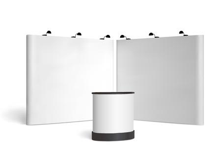obchod: Prázdný veletrh budky mock-up. Čelní pohled. Vector izolovaných na bílém pozadí Ilustrace