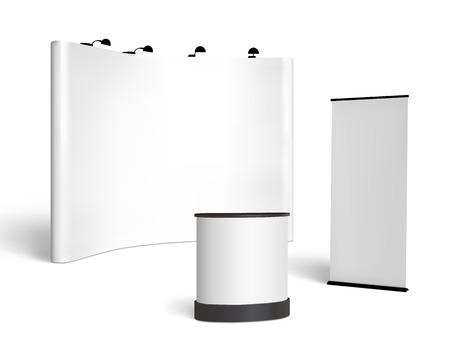 Commerciale in bianco cabina di esposizione mock up. Visione frontale. Vector isolato su sfondo bianco Archivio Fotografico - 42046994