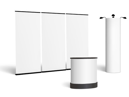 Blank trade show booth mock up. Front view. Vector isolated on white background