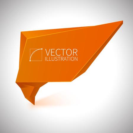 Shiny 3d orange vector banner on white background