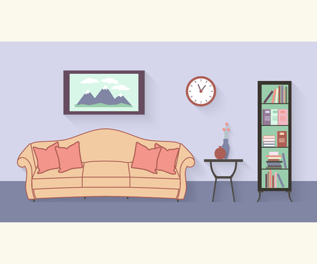 cushions: Living room with furniture and long shadows. Flat style vector illustration. sofa with cushions, bookcase, table, vase of flowers, painting, clocks