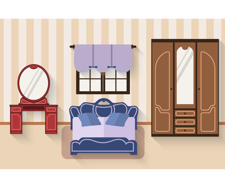 Interior of bedroom with furniture and long shadows. Flat style vector illustration. Bed, wardrobe, boudoir with table, window with roman blinds