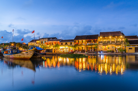 Hoi An reflected in the river during sunset
