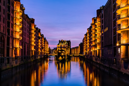 gothic revival style: The Speicherstadt in Hamburg, city of Warehouses