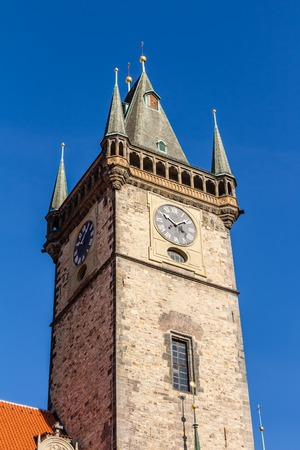 old town square: Town hall tower at the old town square of Prague Editorial