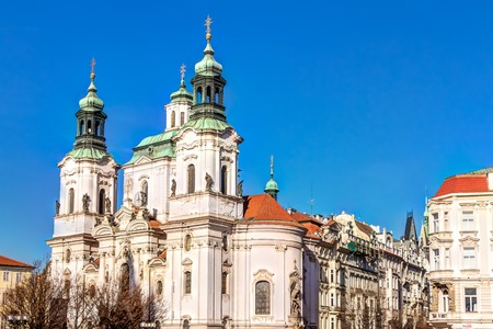 old town square: Saint Nicholas church at old town square in Prague