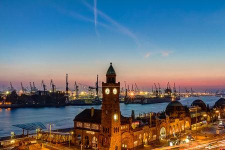 st pauli: St. Pauli Piers and port of Hamburg during twilight hour Editorial