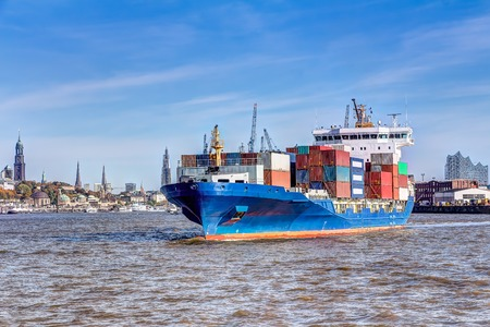 nautical structure: Container ship in the port of Hamburg