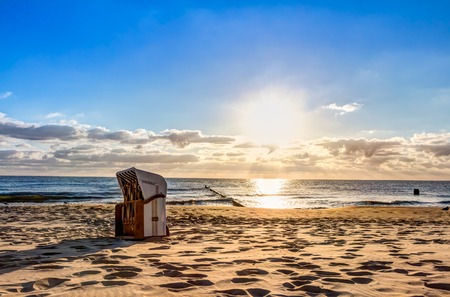 Beach chairs in the morning after sunrise