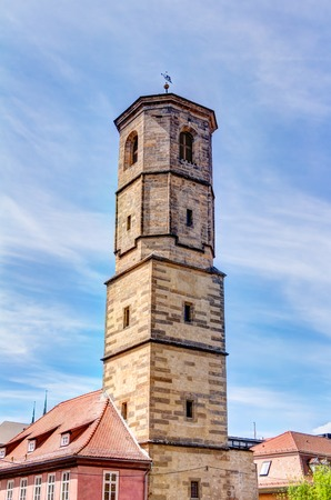 st pauls: St. Pauls church tower in the historic city center of Erfurt, Germany Stock Photo