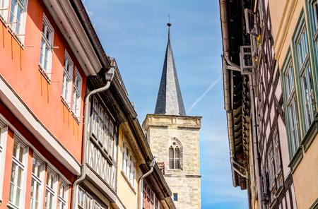 giles: Saint Giles church and half-timbered houses of the Merchants bridge in city center of Erfurt, Germany