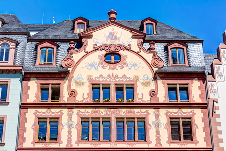 Historic buildings in the old town of Mainz at market square