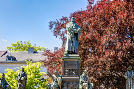 Martin Luther Memorial in the old town of Worms Stock Photo
