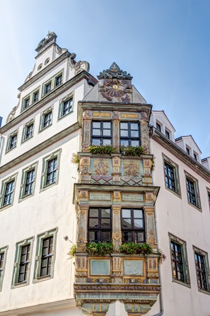 Historic bay window in the old town of Freiberg in Saxony, Germany