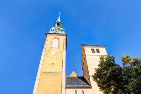 pyramidal: Saint Petri church in the old town of Freiberg in Saxony, Germany Stock Photo