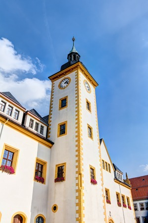 Freiberg old town at the Obermarkt in Saxony, Germany