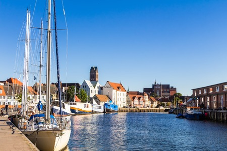 Old Harbor in the Hanseatic city Wismar in Northern Germany on the Baltic Sea