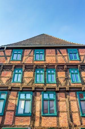 Moltke half-timered house in Parchim in Mecklenburg-Vorpommern in Germany Stock Photo