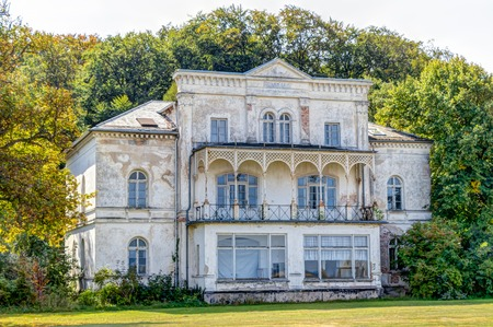 Historic ruin house in classicist architecture style in spa town Heiligendamm, Germany Stock Photo