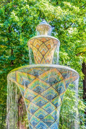 Mosaic fountain in the Great Garden park in Dresden, Germany