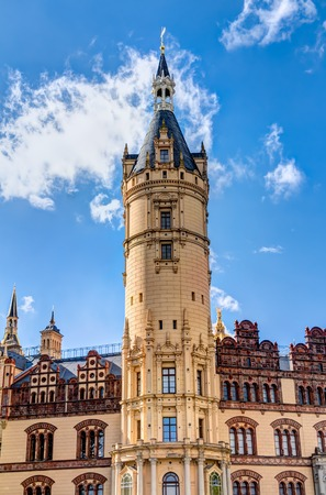 residental: Schwerin Palace in romantic Historicism architecture style located in the city of Schwerin, Germany
