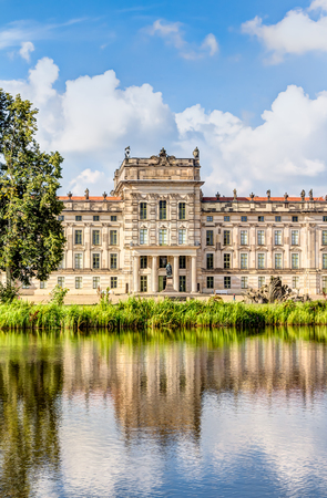 rebuilt: Ludwigslust Palace in Baroque architecture style in the town of Ludwigslust, Mecklenburg-West Pomerania Editorial