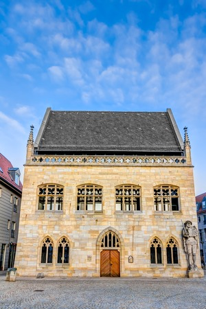 old town guildhall: Town hall in the old town of Halberstadt in Germany Stock Photo
