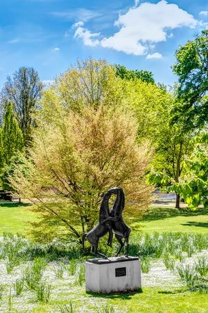 Art in the English landscape park in Wiesbaden