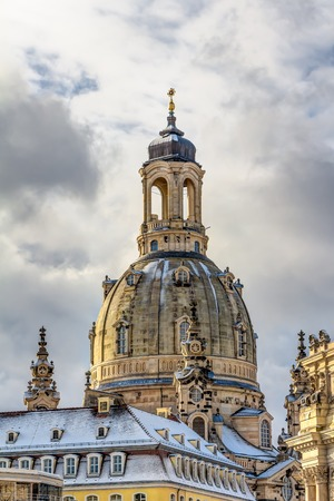rebuilt: The Church of our Lady in the old town of Dresden Stock Photo