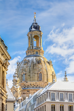 rebuilt: The Procession of Princes and the Church of our Lady in the old town of Dresden in winter