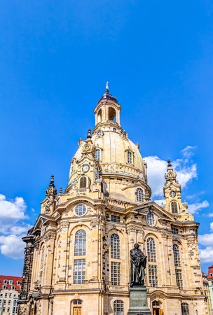 rebuilt: Rebuilt Church of our Lady in the historic old town of Dresden, Germany