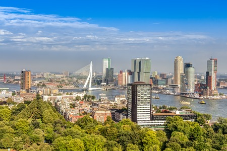 Aerial view of the modern city center of Rotterdam Stock Photo