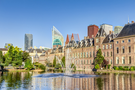 Binnenhof Palace and the skyline The Hague in the Netherlands